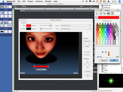 Spontz Visuals Editor for Mac OS X full screenshot